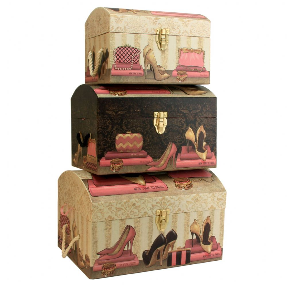 Set Of 3 Large Pretty Storage Trunks - Decorative Bedroom Storage Chests 'Pretty In Pink'